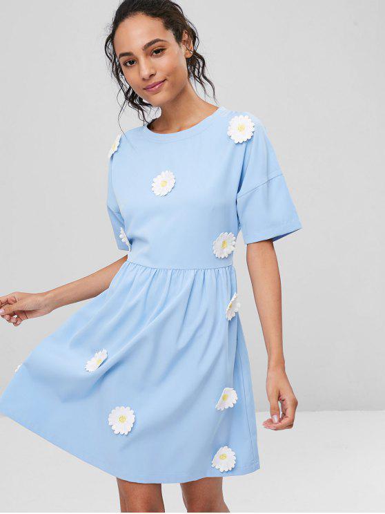 chic Floral Applique A Line Casual Dress - LIGHT BLUE M