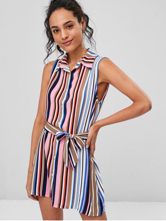 chic Striped Sleeveless Shirt Dress - MULTI L