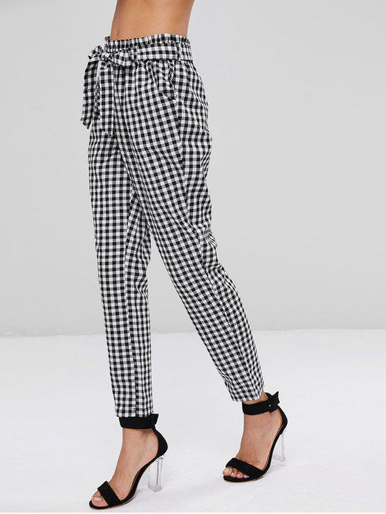 Pantalones de bolsa de papel de algodón a cuadros de cintura alta - Multicolor S
