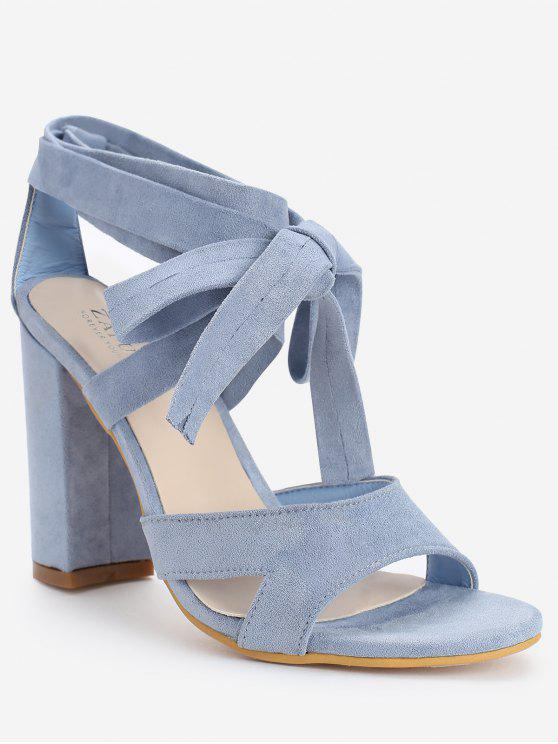 outfits Crisscross Block Heel Ankle Strap Lace Up Sandals - LIGHT BLUE 39