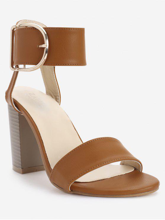 Sandalias con hebillas de correa de tobillo elegante de tacón alto - Marrón Claro 37