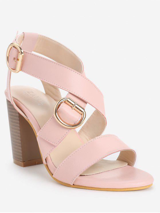ladies Chunky Heel Chic Crisscross Ankle Wrap Sandals - LIGHT PINK 36