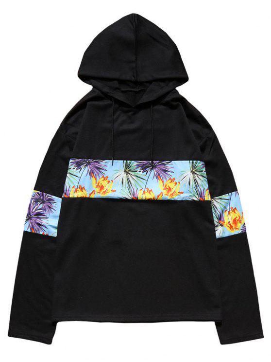 affordable Floral Print Patchwork Hoodie - BLACK M