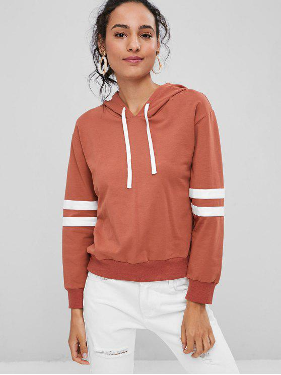 buy Contrast Striped Sleeve Pullover Hoodie - GRAPEFRUIT S