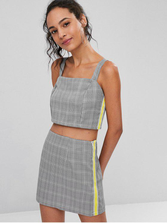 1b42e5b881 28% OFF] 2019 Striped Patched Plaid Skirt Set In BLACK | ZAFUL