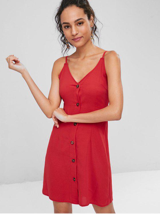Kontrast Knopf Vorder Cami Minikleid - Rot S