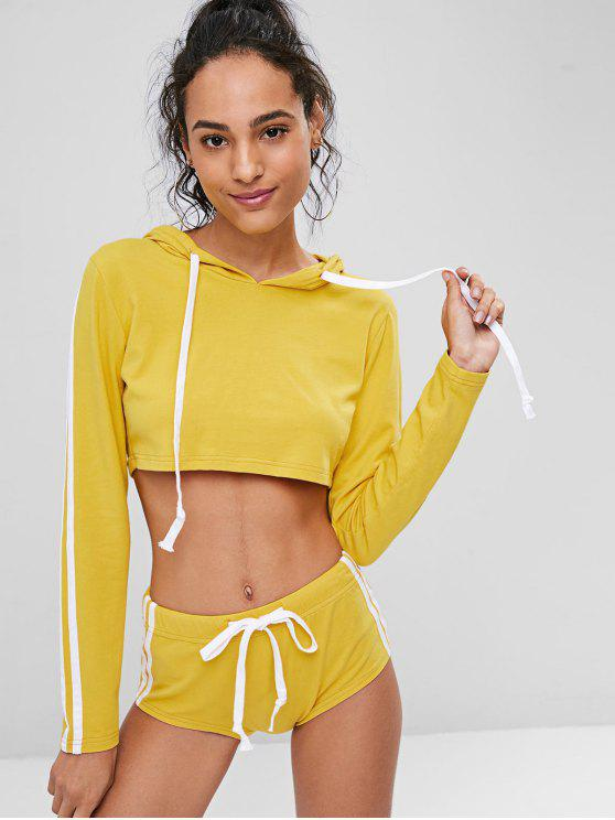 unique Crop Top Hoodie and Shorts Sweat Suit - BRIGHT YELLOW S