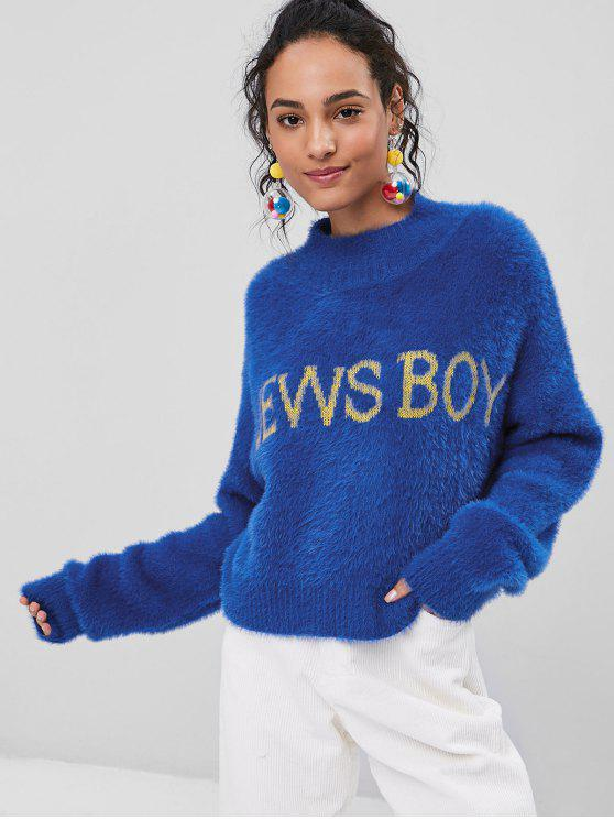 outfit High Neck News Boy Fuzzy Sweater - COBALT BLUE ONE SIZE