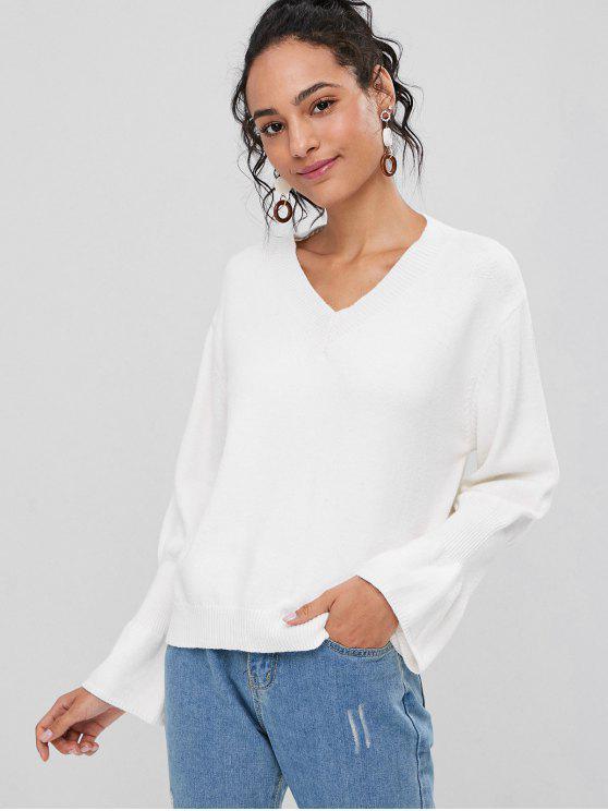 Suéter de cuello en V con volantes - Blanco Talla única