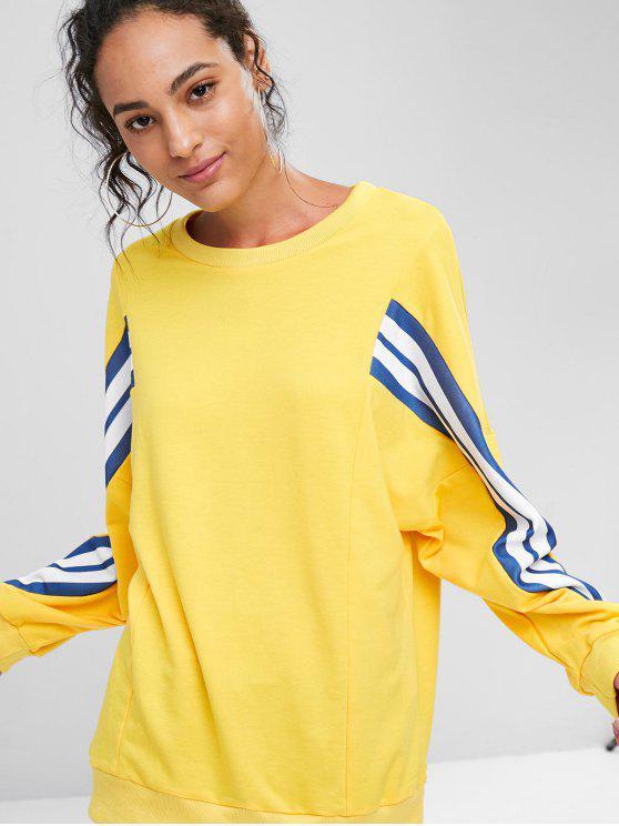 unique Loose Striped Panel Sweatshirt - SUN YELLOW L