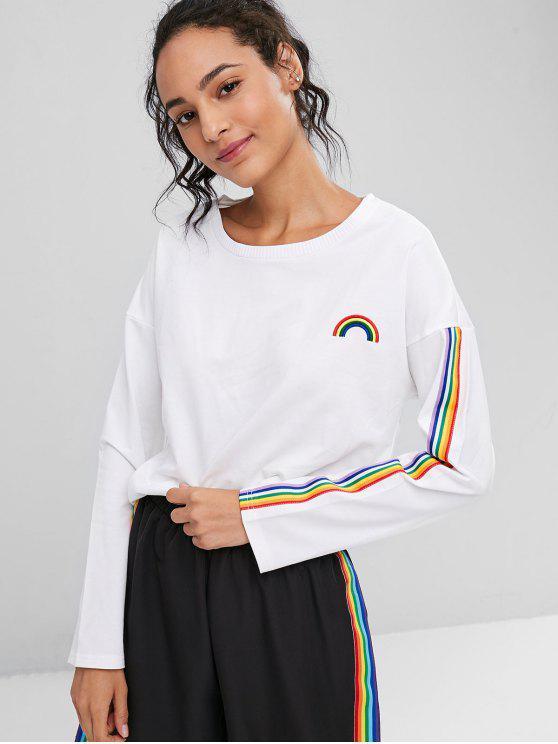 Regenbogen Besticktes Streifen Sweatshirt - Weiß L