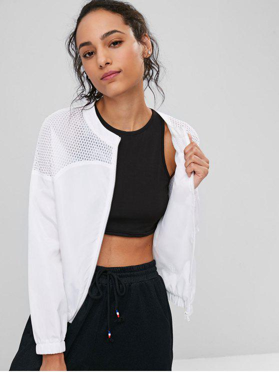 sale Fishnet Panel Zip Up Jacket - WHITE L