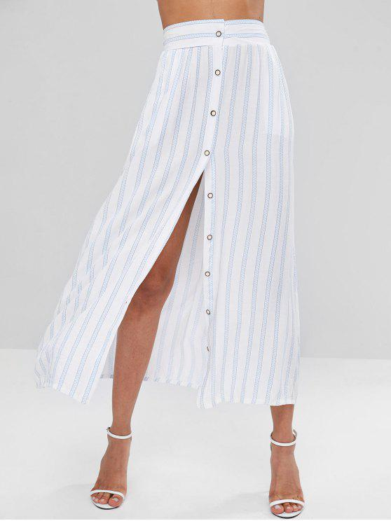 outfit Button Up Striped Skirt - WHITE XL