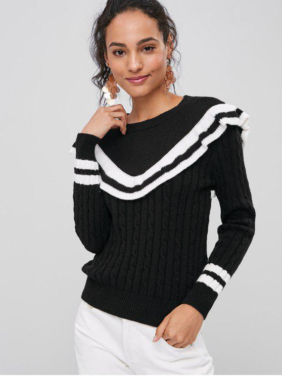 trendy Contrasting Ruffles Sweater - BLACK ONE SIZE