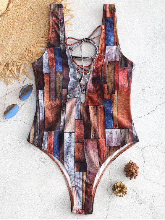 unique Lace-up Patchwork Cut Out Swimsuit - MULTI S