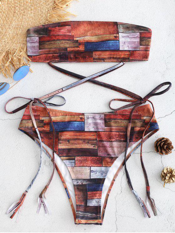 Patchwork Riemchen Hoch Tailliertes Bikini-Set - Multi S