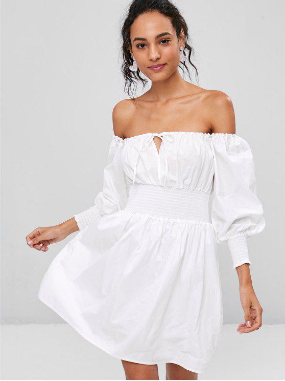 fancy Off The Shoulder Smocked Shirt Dress - WHITE M