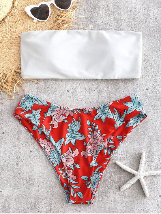 Bandeau Floral Print Bikini Set - Rojo de Camión de Bomberos L