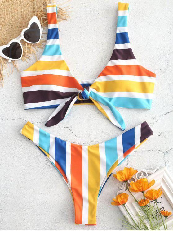latest Colorful Striped Knot Bikini Set - MULTI L