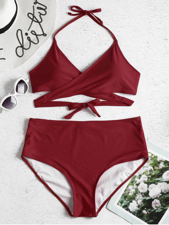 womens Plus Size High Rise Wrap Bikini Set - FIREBRICK L