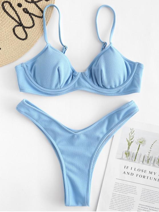 ladies Ribbed Underwire Bikini Set - DAY SKY BLUE L