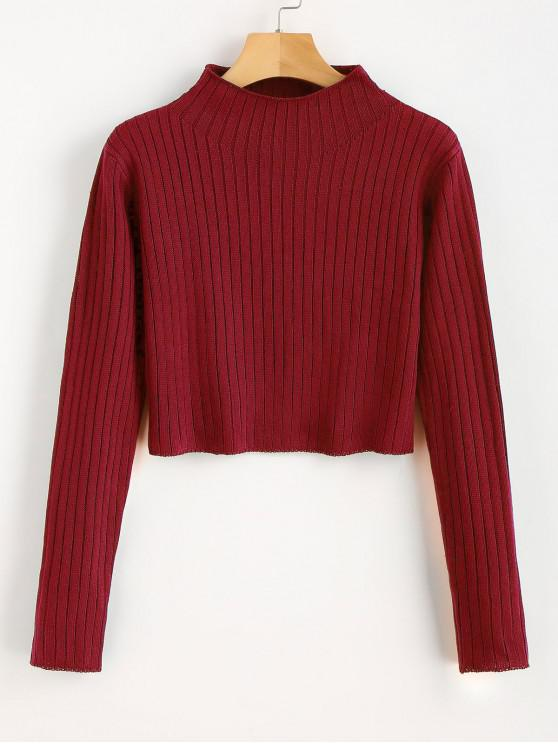 ladies Mock Neck Ribbed Sweater - LOVE RED S