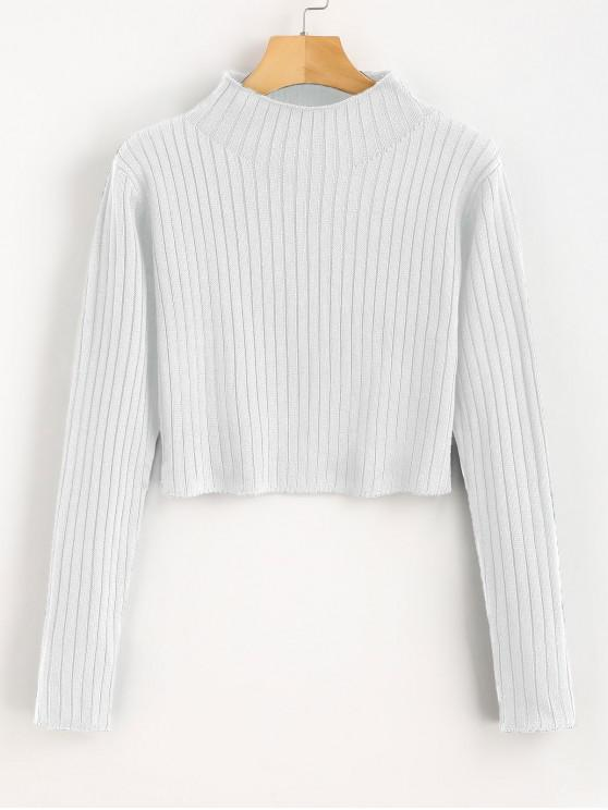 fancy Mock Neck Ribbed Sweater - WHITE M