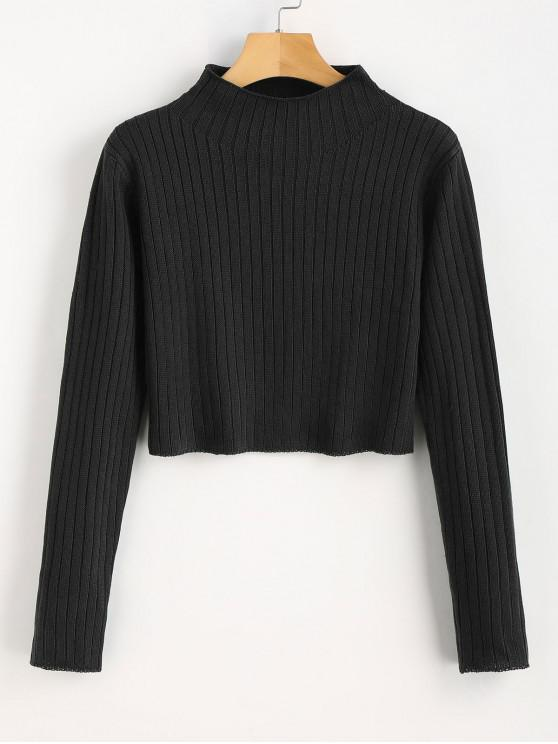 affordable Mock Neck Ribbed Sweater - BLACK M