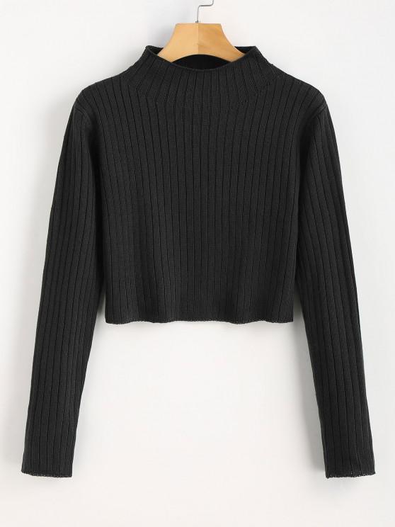 online Mock Neck Ribbed Sweater - BLACK S