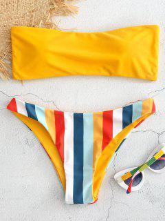 Bandeau Regenbogen Gestreiftes Bikini Set - Niedliches Gummi Gelb L