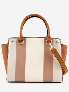 Contrasting Color Striped Minimalist Leisure Handbag - Brown