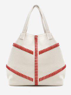 Color Block Whipstith Practical Minimalist Tote Bag - Silk White