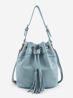 Embossing Minimalist Tassels Decoration Shoulder Bag - Blue