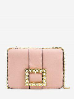 Metal Chain Buckled Faux Pearls Vintage Sling Bag - Pink