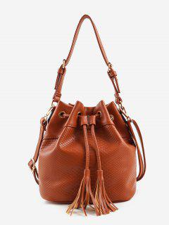 Embossing Minimalist Tassels Decoration Shoulder Bag - Brown