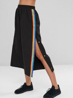 Rainbow Stripes Patched Loose Pants - Black L