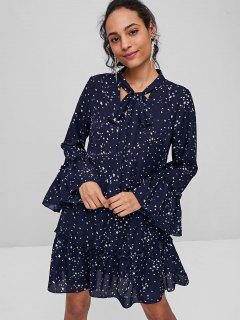 Star Print Bowtie Dress - Dark Slate Blue L