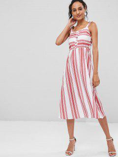 Striped Tie Shoulder Midi Dress - Multi L