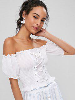Smocked Lace-up Off The Shoulder Top - White