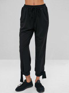 Drawstring Waist Knotted Pants - Black L