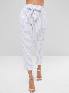 Belted Striped Pants - White Xl