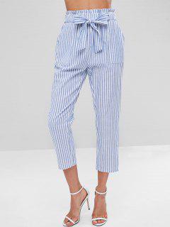 Pantalones A Rayas Con Cinturón - Azul Claro M