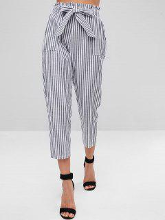 Belted Striped Pants - Black S