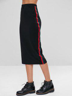 Stripes Patched Midi Skirt - Black Xl