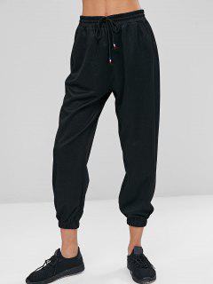 High Waist Drawstring Pants - Black M