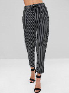 Pantalon Rayé à Taille Haute - Multi-b L