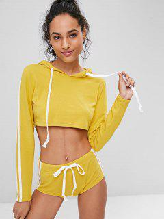 Crop Top Hoodie And Shorts Sweat Suit - Bright Yellow L
