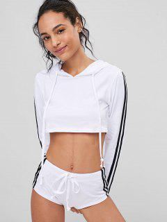 Crop Top Hoodie And Shorts Sweat Suit - White L