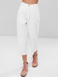 Pantalon Droit En Velours Côtelé Raccourci Taille Haute - Blanc S