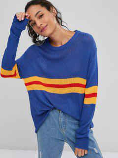 Contrasting Stripes Panel Sweater - Blueberry Blue